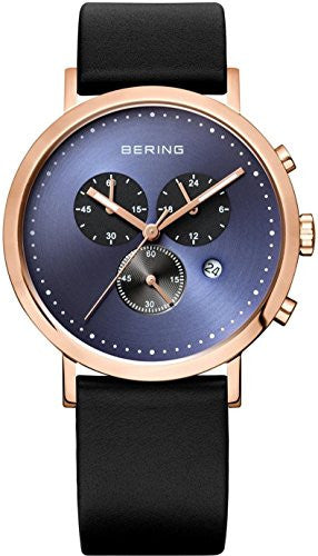 Bering Men's Classic Chronograph Rose Gold Tone Black Leather Watch 10540-567