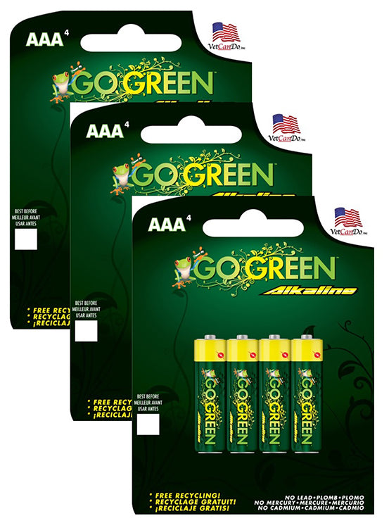 GoGreen Power Alkaline AAA Batteries - 4 Pack (Bundle of 3) 24002
