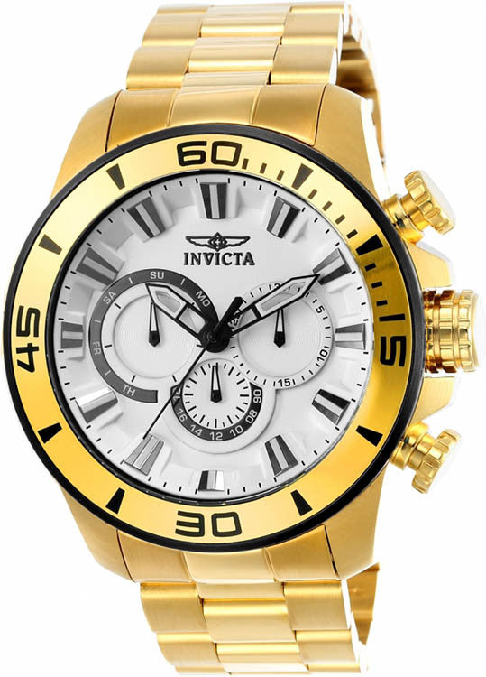 Invicta Men's Pro Diver Quartz Chrono 100m Gold Tone Stainless Steel Watch 22589