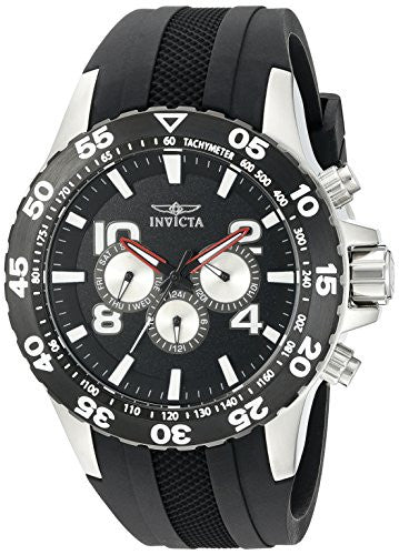 Invicta Men's Aviator Chronograph Stainless Steel Black Polyurethane Watch 20375