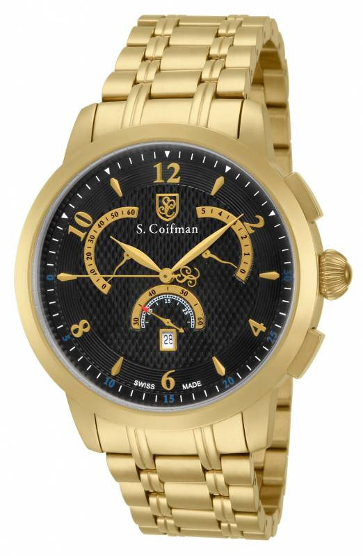 S. Coifman Men's Chronograph Quartz Gold Plated Stainless Steel Watch SC0238