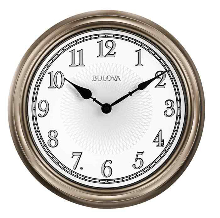 Bulova Light Time Auto On/Off Indoor/Outdoor Weather Resistant Wall Clock C4826