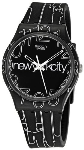 Swatch Unisex Lines in the Sky Quartz Black & White Plastic/Silicone Watch GZ209