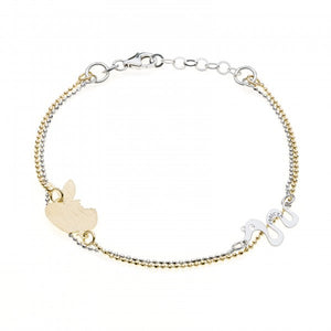 Invicta Women's Jewelry 20cm Silver 925 Gold  Apple/Snake Bracelet J0285