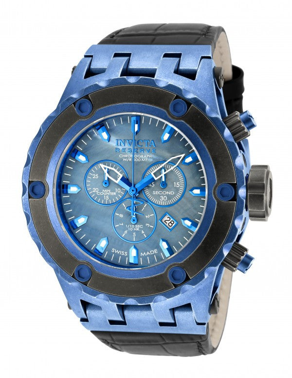 Invicta Men's Subaqua Chronograph Blue Stainless Steel Black Leather Watch 18457