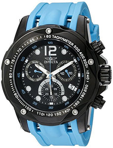 Invicta Men Speedway Chrono Black Stainless Steel Blue Polyurethane Watch 20075