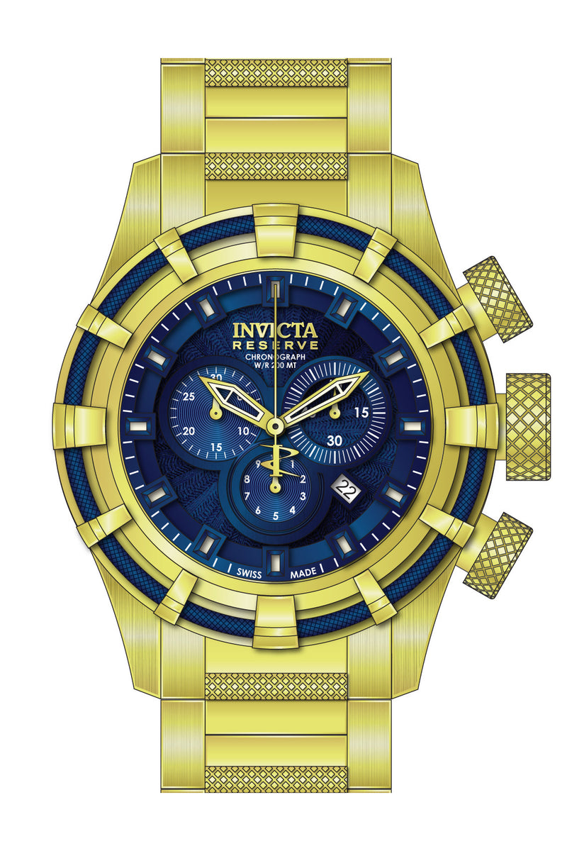 Invicta Men's Bolt Chronograph 200m Gold Plated Stainless Steel Watch 19521