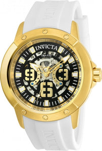 Invicta Men's 22630 Objet D Art Black & Silver Semi-Skeleton Dial White Strap