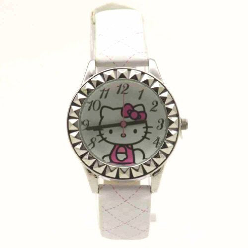 Sanrio Hello Kitty Hkaq2800 Silver Tone White & Pink Leather Watch