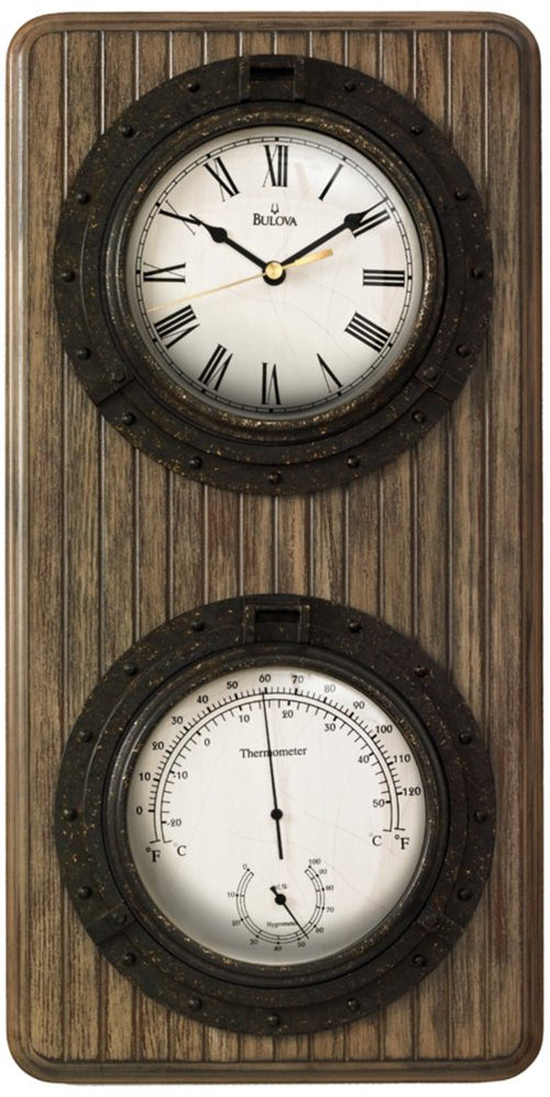 "Bulova Monterey 19"" Wood Panel Coffee Finish Weather Station Wall Clock C3734"