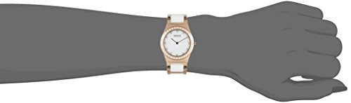 Bering Women's Swarovski Crystals White Ceramic Gold Tone Watch 32430-761