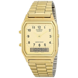 CASIO MEN'S GOLD ANALOG DIGITAL DRESSY WATCH AQ230GA-9B