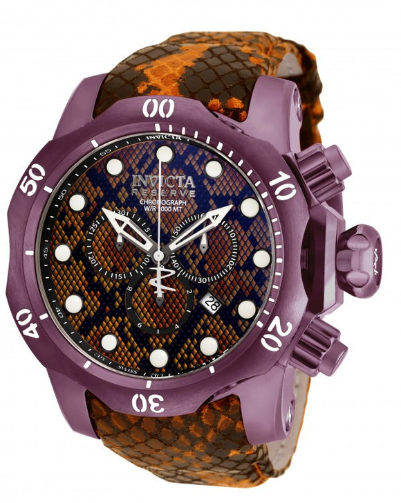 Invicta Men's Venom Chronograph 1000m Brown Reptile Print Leather Watch 19005