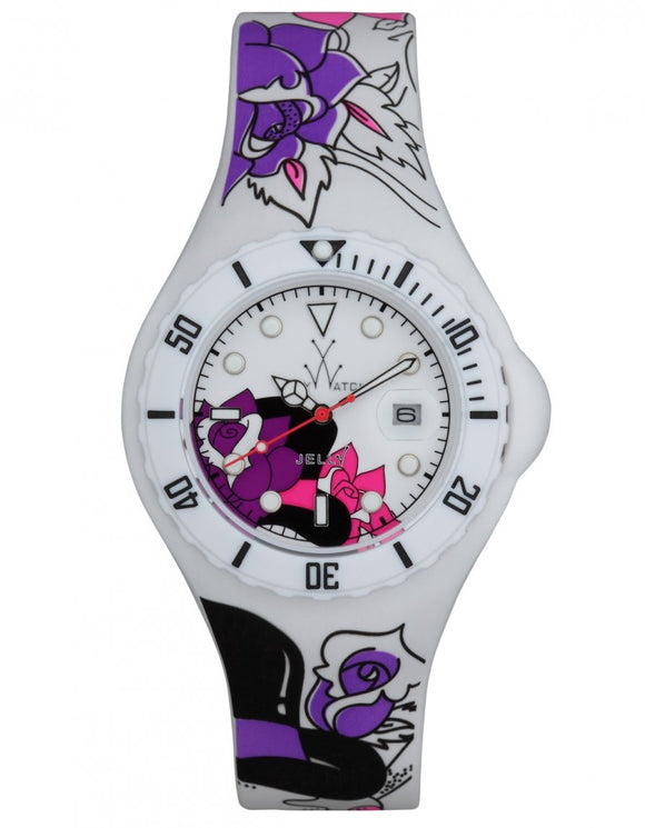 ToyWatch Jelly Tattoo White Skull Theme Women's Watch JYT02WH