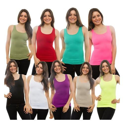 3-PACK Womens Tank Top 100% Cotton Ribbed A-shirt Basic Workout Large
