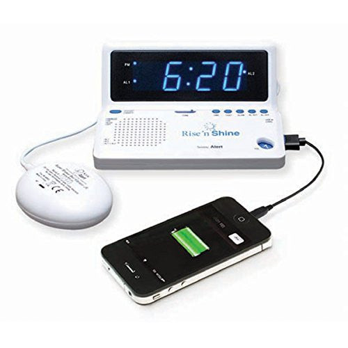 Sonic Alert Rise n Shine Travel Dual Alarm Clock w/ Bed Shaker SBT625SS