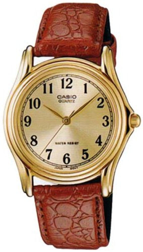 Casio Men's Quartz Gold Tone Stainless Steel Brown Leather Watch MTP1096Q-9B1