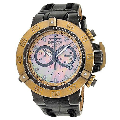 Invicta Men's Subaqua Chronograph 500m Stainless Steel Leather Watch 18448