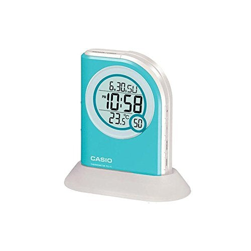 Casio Multi Function Thermometer Table Top Blue Digital Alarm Clock PQ75-2