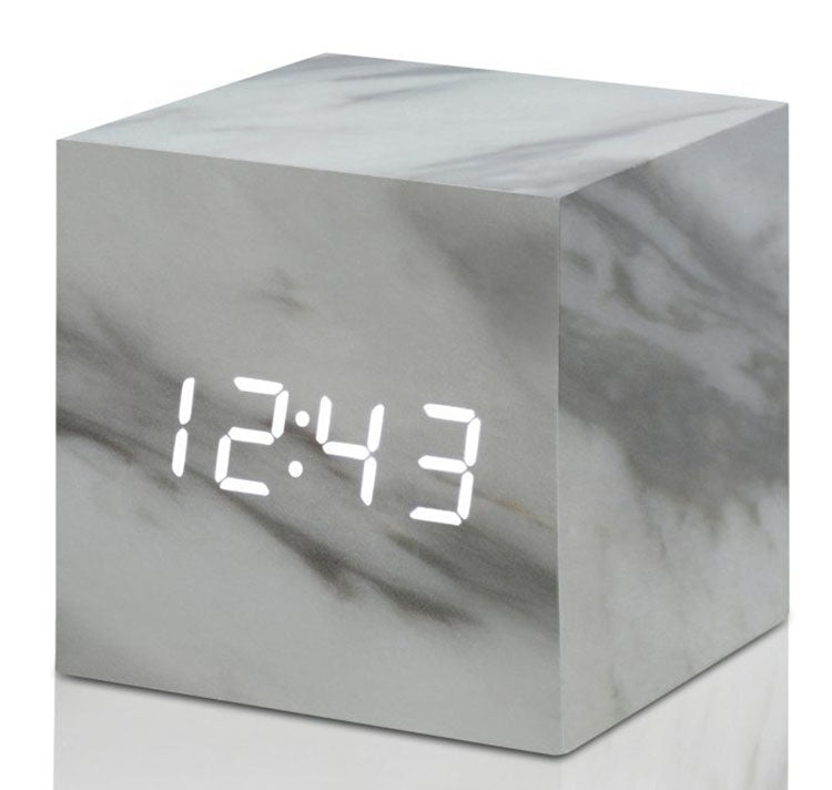 Gingko Cube Click Clock Wooden Alarm Clock (Marble/White LED) GK08W5