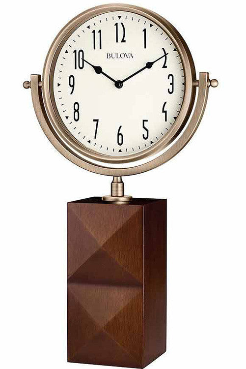 Bulova Park Avenue Analog Solid Hardwood Bronze Tone Mantel Clock B5403