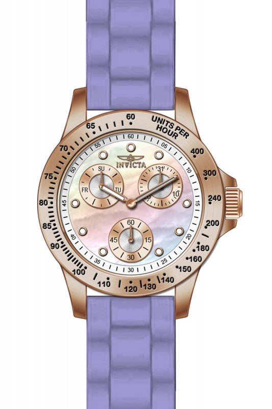 Invicta Women's Speedway Chrono Rose Gold Plated Purple Silicone Watch 21988