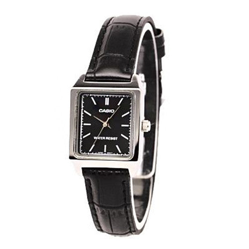 Casio Women's Analog Quartz Stainless Steel Black Leather Watch LTP-V007L-1E