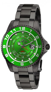 Invicta Women's Pro Diver 200m Green Dial Gunmetal Stainless Steel Watch 18249