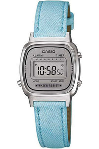 Casio Ladies Denim look leather band Blue watch Digital