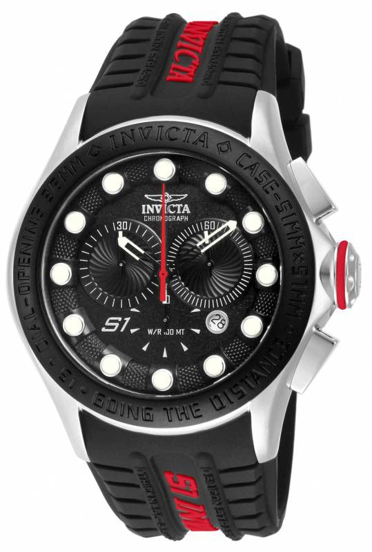 Invicta Men S1 Rally Chronograph Stainless Steel Black, Red Silicone Watch 10837