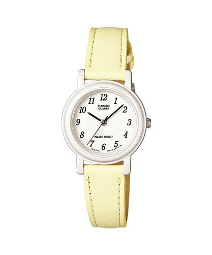 Casio Women's Yelloe/Beige Genuine Leather Analog Watch LQ139L-9B