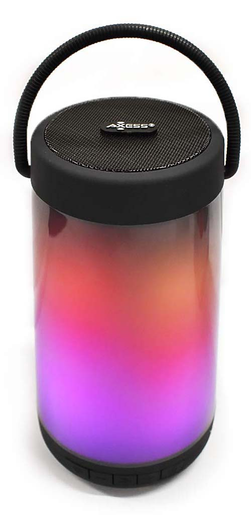 Axess SPBL1062 Bluetooth Dancing LED Wireless Speaker, Night Light Wireless Speaker, 10 Lighting Styles & Colors, USB/TF Card Inputs, Rechargeable Battery & USB Charger