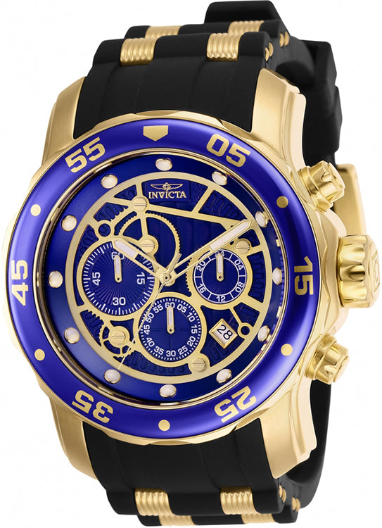 Invicta Men's Pro Diver Quartz Chronograph100m Gold-Tone Silicone Watch 25707
