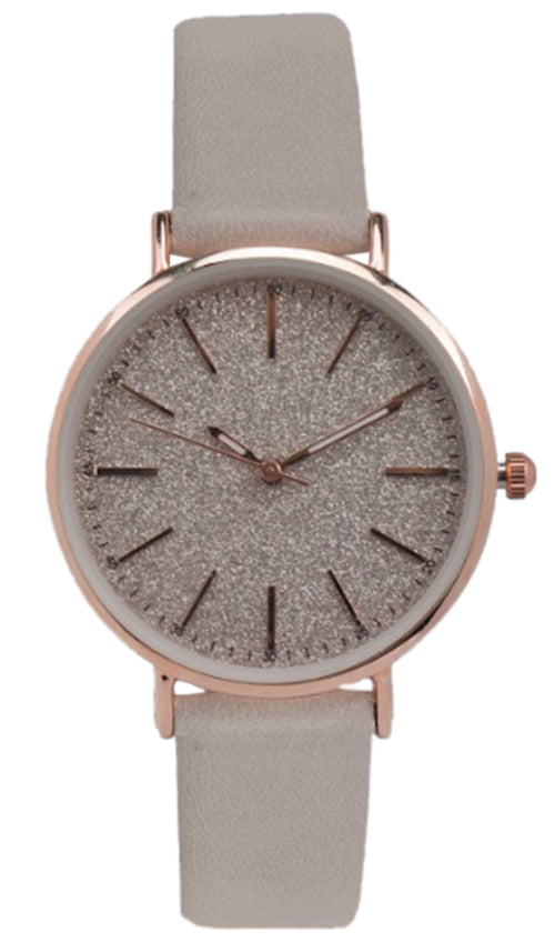 Geneva Platinum Women's Quartz Stainless Steel/Faux Leather Watch 10160TAUPE