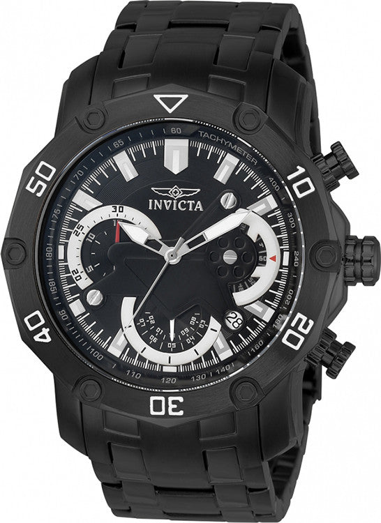 Invicta Men's  Pro Diver Stainless Steel Chronograph Black Dial and Bracelet Watch 22763