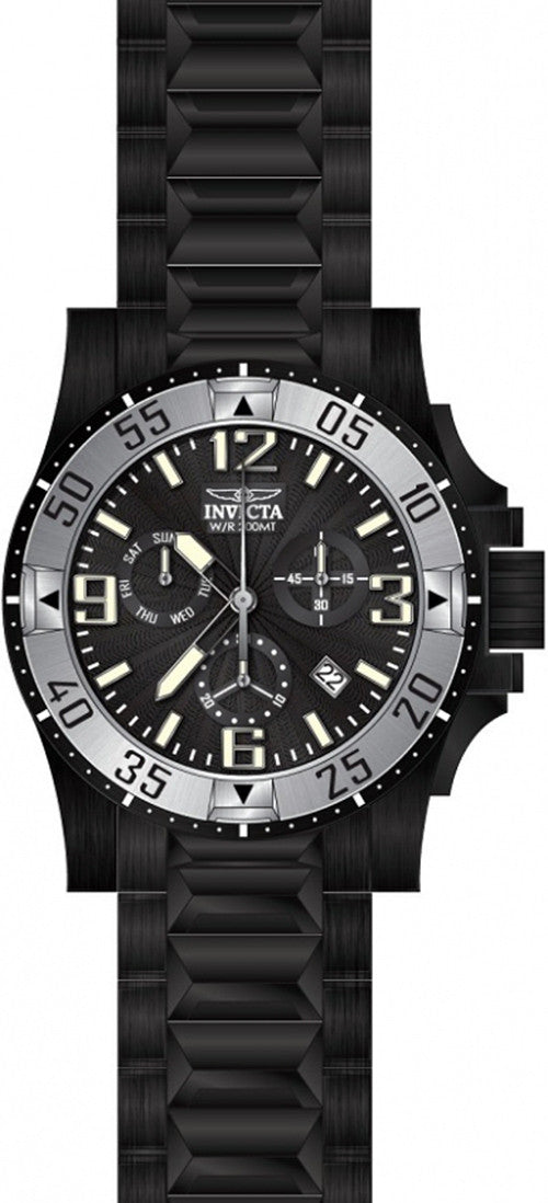 Invicta Men's Excursion Chrono Quartz 200m Black Stainless Steel Watch 23907