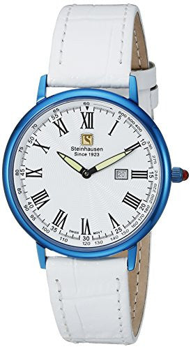 Steinhausen Men's Dunn Luxe Blue Stainless Steel/White Leather Watch GWL493UWWA