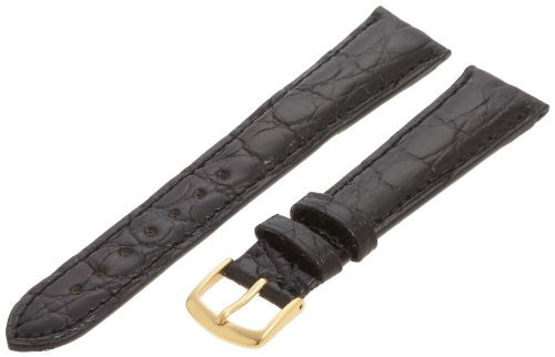 Hadley-Roma Men's MS2001RA-200 20-mm Black Genuine Caiman Crocodile Leather Watch Strap