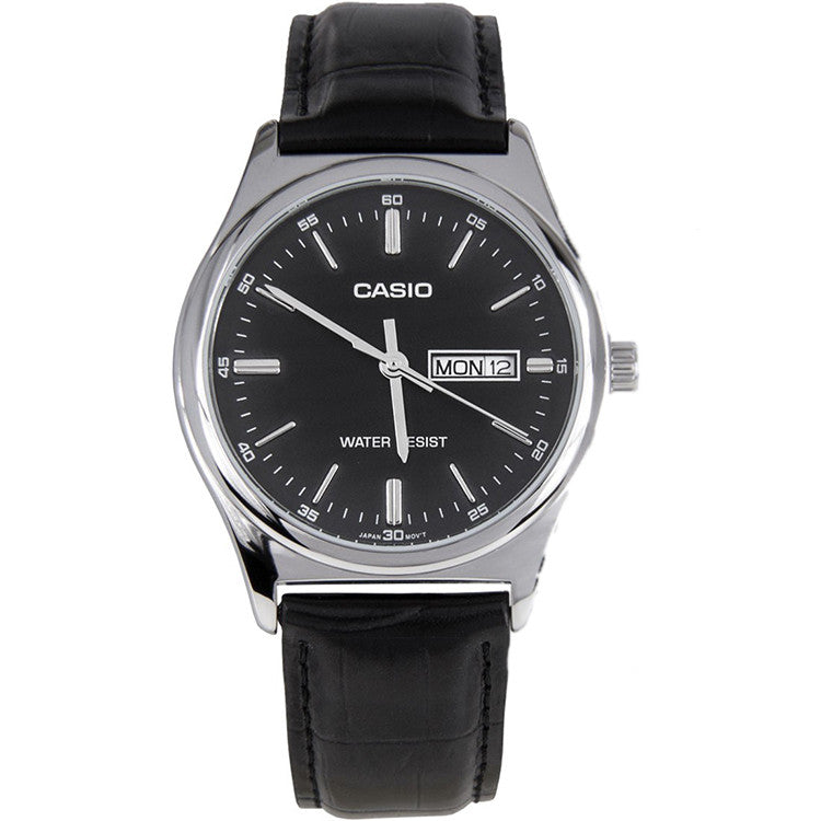 Casio Men's Analog Quartz Stainless Steel Black Leather Watch MTPV003L-1A
