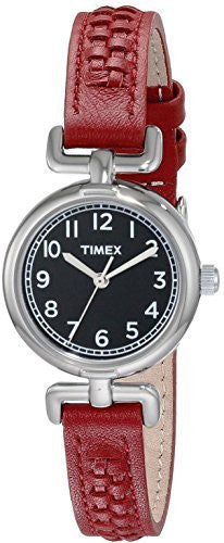 Timex Women's Weekender Analog Quartz Petite Red Leather Watch T2N660
