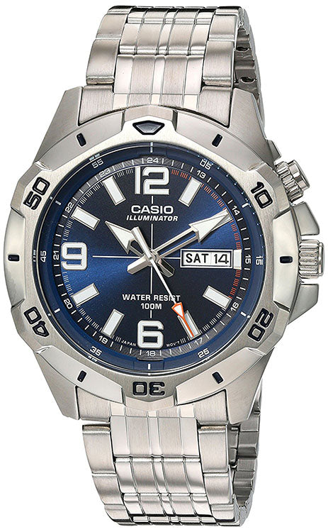 Casio Men's Super Illuminator Analog Quartz Stainless Steel Watch MTD1082D-2AV