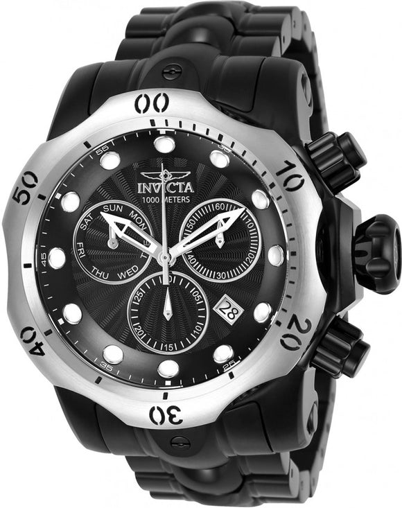 Invicta Men's Venom Swiss Quartz Chrono 1000m Black Stainless Steel Watch 23897
