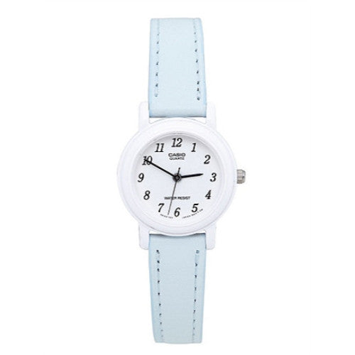Casio Ladies Analog Casual White Case Light Blue Leather Strap Watch LQ139L2B