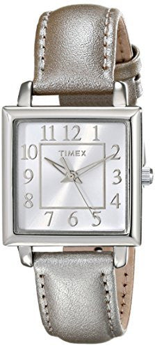 Timex Women's Analog Quartz Square Dial Metallic Taupe Leather Watch T2P095