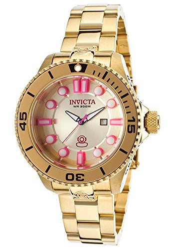 Invicta Women's Pro Diver 300m Quartz Gold Plated Stainless Steel Watch 19821