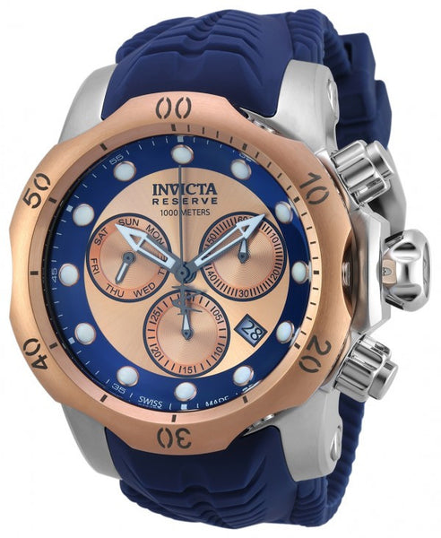 Invicta Men's Venom Chronograph 1000m Stainless Steel Blue Silicone Watch 19922