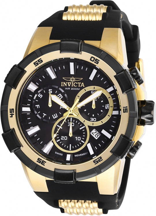 Invicta Men's Aviator Quartz 200m Stainless Steel/Black Silicone Watch 27350