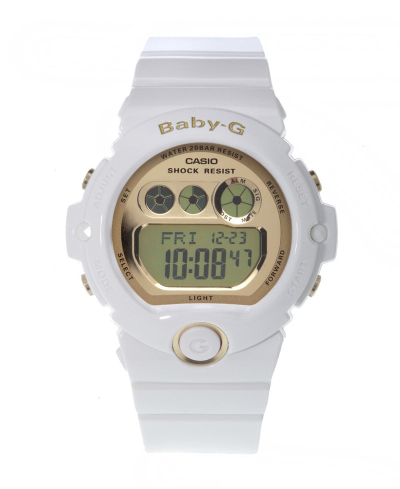 Casio Women's Baby-G White Resin and Gold-Tone Accented Large Digital Sport Watch BG6901-7