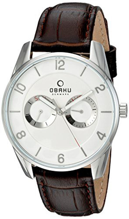 Obaku Men's Quartz Stainless Steel Leather Dress Watch V171GMCIRN