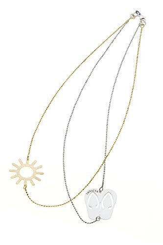 Invicta Women's Jewelry 43cm Silver 925 Yellow Gold  Sun/Slippers Necklace J0275